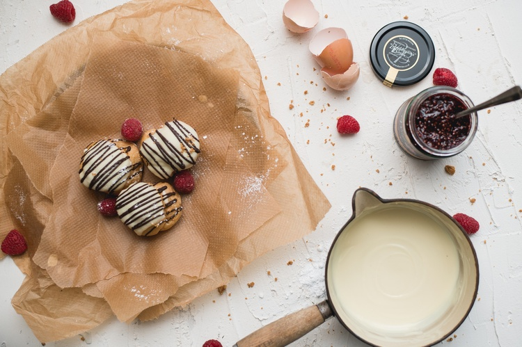 Raspberry Ripple Profiteroles